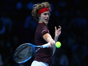 ALEXANDER ZVEREV of Germany plays a forehand during the Nitto ATP World Tour Finals at O2 Arena in London, England.