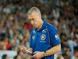 Brisbane coach ANDREJ LEMANIS walks the sideline during the NBL match between Melbourne United and the Brisbane Bullets at Hisense Arena in Melbourne, Australia.