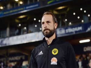 ANDREW DURANTE of the Phoenix looks on prior to the A-League match between the Wellington Phoenix and Melbourne City FC at QBE Stadium in Auckland, New Zealand.