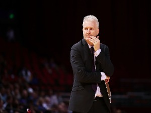 Kings coach ANDREW GAZE looks on during the NBL match between the Sydney Kings and the Cairns Taipans at Qudos Bank Arena in Sydney, Australia.