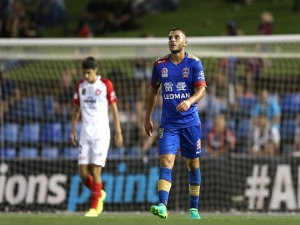 ANDREW NABBOUT of the Jets looks dejected after a near miss at goal during the A-League match between the Newcastle Jets and the Western Sydney Wanderers at McDonald Jones Stadium in Newcastle, Australia.