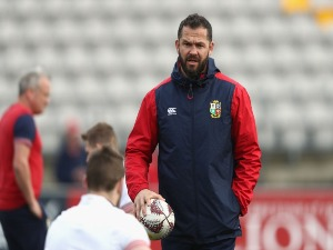 ANDY FARRELLl, the Lions defence coach looks on during the British & Irish Lions captain's run at Porirua Park in Wellington, New Zealand.