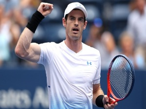 ANDY MURRAY of Great Britain celebrates his victory in his men's singles match of the US Open at the USTA BJ King National Tennis Center in New York City.
