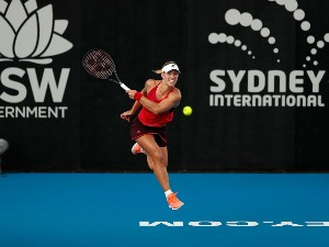 ANGELIQUE KERBER of Germany plays a forehand during the 2018 Sydney International at Sydney Olympic Park Tennis Centre in Sydney, Australia.