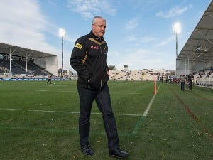Head Coach ANTHONY GRIFFIN of the Panthers looks on prior to the NRL match between the Penrith Panthers and the New Zealand Warriors at AMI Stadium in Christchurch, New Zealand.