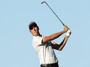 ANTHONY QUAYLE of Australia plays his second shot on the 2nd play off knockout 18th hole during day three of the World Super 6 at Lake Karrinyup Country Club in Perth, Australia.