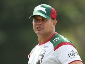 Head coach ANTHONY SEIBOLD looks on during a South Sydney Rabbitohs NRL training session at Redfern Oval in Sydney, Australia.