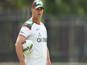Coach ANTHONY SEIBOLD looks on during a South Sydney Rabbitohs NRL training session at Redfern Oval in Sydney, Australia.