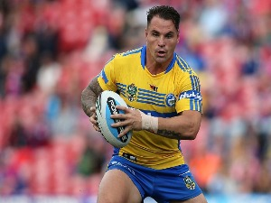 ANTHONY WATMOUGH of the Eels runs the ball during the NRL match between the Newcastle Knights and the Parramatta Eels at Hunter Stadium in Newcastle, Australia.