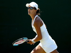 ARINA RODIONOVA of Australia runs for a shot during her ladies singles qualifying match against Elena-Gabriela Ruse of Romania on Day Three of Wimbledon Qualiifying at the Bank of England Sports Centre in London, England.
