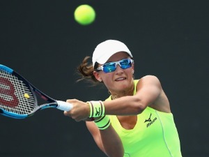 ARINA RODIONOVA of Australia competes in her match against Marta Kostyuk of Ukraine during Australian Open Qualifying at Melbourne Park in Melbourne, Australia.