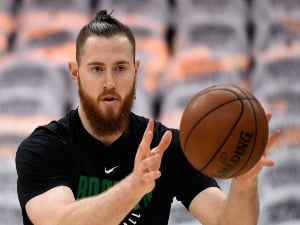 ARON BAYNES of the Boston Celtics warms up before Game Six of the 2018 NBA Eastern Conference Finals against the Cleveland Cavaliers at Quicken Loans Arena in Cleveland, Ohio.
