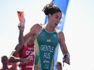 ASHLEIGH GENTLE of Australia exits the water during the ITU World Triathlon Series in Gold Coast, Australia.