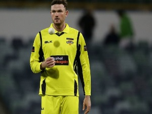 ASHTON TURNER of WA prepares to bowl during the JLT One Day Cup match between New South Wales and Western Australia at WACA in Perth, Australia.