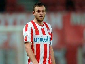 AVRAAM PAPADOPOULOS of Olympiacos in action during the Greek Superleague match between Olympiacos and Levadiakos at the Georgios Karaiskakis Stadium in Athens,Greece.