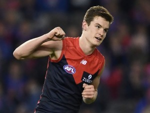 BAYLEY FRITSCH of the Demons celebrates kicking a goal during the AFL match between the Western Bulldogs and the Melbourne Demons at ES in Melbourne, Australia.