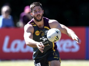 BEN HUNT passes the ball during a Brisbane Broncos NRL training session in Brisbane, Australia.