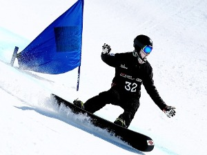 BEN TUDHOPE of Australia competes in the Men's Banked Slalom Lower Limb 2 Imp. final during the Winter Games NZ Para Snowboard Banked Slalom World Cup event at Treble Cone in Wanaka, New Zealand.