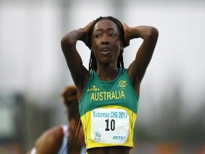 BENDERE OBOYA of Australia reacts after victory in Girls 400m Final on the 2017 Youth Commonwealth Games at Thomas A. Robinson National Stadium in Nassau, Bahamas.