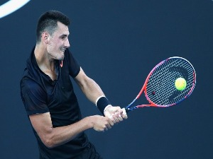 BERNARD TOMIC of Australia competes in his first round match during 2018 Australian Open Qualifying at Melbourne Park in Melbourne, Australia.