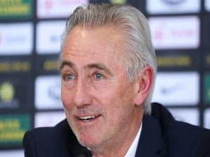 Head Coach BERT VAN MARWIJK speaks to media during a press conference at FFA Headquarters in Sydney, Australia.