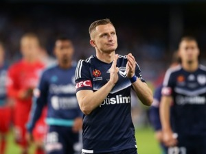 BESART BERISHA of Melbourne Victory and team mates look dejected after losing the penalty shoot out during the 2017 A-League Grand Final match between Sydney FC and the Melbourne Victory at Allianz Stadium in Sydney, Australia.