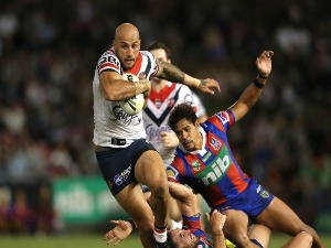 BLAKE FERGUSON of the Roosters in action during the round seven NRL match between the Newcastle Knights and the Sydney Roosters at McDonald Jones Stadium in Newcastle, Australia.