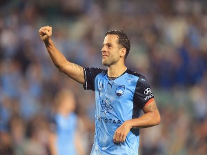 BOBO of Sydney FC celebrates his second goal during the A-League match between Sydney FC and Adelaide United at Allianz Stadium in Sydney, Australia.