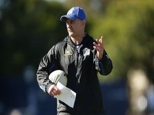 Eels head coach BRAD ARTHUR talks to players during a Parramatta Eels NRL training session in Sydney, Australia.