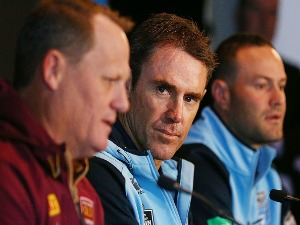 Queensland Maroons coach KEVIN WALTERS (L) and with New South Wales Blues coach BRAD FITTLER speak to media during a State of Origin media opportunity at MCG in Melbourne, Australia.
