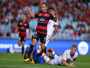 BRENDON SANTALAB of the Wanderers reacts during the A-League match between the Western Sydney Wanderers and Adelaide United at ANZ Stadium in Sydney, Australia.