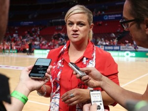 Swifts Head Coach BRIONY AKLE is interviewed after the Super Netball match between NSW Swifts and Queensland Firebirds at Qudos Bank Arena in Sydney, Australia.