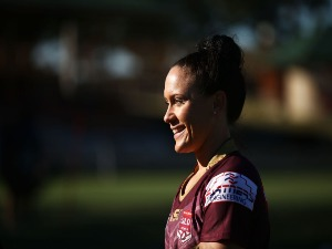 BRITTANY BREAYLEY of Queensland looks on during a Women's State of Origin media opportunity at North Sydney Oval in Sydney, Australia.