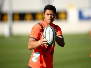 CALEB CLARKE of the Blues during a Blues Super Rugby training session at Alexandra Park in Auckland, New Zealand.