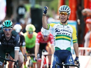 Australian cyclist CALEB EWAN of the Orica - Scott team celebrates after winning the People's Choice Classic street race in Adelaide, Australia.