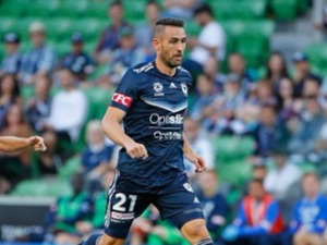 CARL VALERI of the Victory controls the ball during the A-League match between the Melbourne Victory and the Brisbane Roar at AAMI Park in Melbourne, Australia.