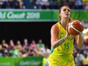 CAYLA GEORGE of Australia attempts a free throw shot during the Preliminary Basketball round match between Australia and Canada on day four of the Gold Coast 2018 Commonwealth Games at the Townsville Entertainment Centre in the Townsville, Australia.