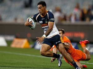 CHANCE PENI of the Brumbies runs with the ball during the Super Rugby match between the Brumbies and the Jaguares at University of Canberra Stadium in Canberra, Australia.