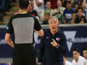 CHOT REYES, coach of the Philippines looks on during the FIBA World Cup Qualifier match between the Australian Boomers and the Philippines at Margaret Court Arena in Melbourne, Australia.