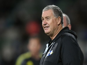 CHRIS BOYD, head coach of the Hurricanes, before the round eight Super Rugby match between the Hurricanes and the Sharks at McLean Park in Napier, New Zealand