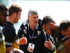 Head coach COLIN COOPER of Taranaki coaches during the warm up during the Mitre 10 Cup match between North Harbour and Taranaki at QBE Stadium in Auckland, New Zealand.