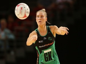 COURTNEY BRUCE of the Fever passes during the Super Netball match between the Giants and the West Coast Fever at Qudos Bank Arena in Sydney, Australia.