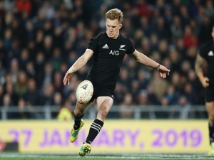 DAMIAN MCKENZIE of the All Blacks in action during the International Test match between the New Zealand All Blacks and France at Forsyth Barr Stadium in Dunedin, New Zealand.