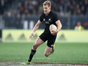 DAMIAN MCKENZIE of the All Blacks makes a break during the International Test match between the New Zealand All Blacks and France at Forsyth Barr Stadium in Dunedin, New Zealand.