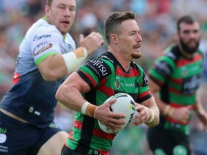 DAMIEN COOK of the Rabbitohs in action during the NRL match between the South Sydney Rabbitohs and the Canberra Raiders at Central Coast Stadium in Gosford, Australia.