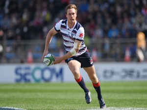 DANE HAYLETT-PETTY of Rebels runs with the ball during the Super Rugby match between Sunwolves and Rebels at the Prince Chichibu Memorial Ground in Tokyo, Japan.