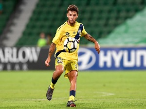 DANIEL DE SILVA of the Mariners controls the ball during the A-League match between the Perth Glory and the Central Coast Mariners at nib Stadium in Perth, Australia.