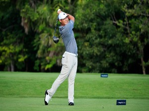 DANNY LEE of New Zealand plays his shot from the second tee during the second round of the Mayakoba Golf Classic at El Camaleon Mayakoba Golf Course in Playa del Carmen, Mexico.