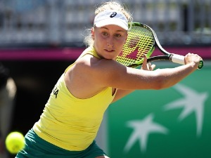 DARIA GAVRILOVA of Australia plays a backhand against Marta Kostyuk of Ukraine during the Fed Cup tie at the Canberra Tennis Centre in Canberra, Australia.