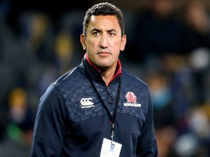 DARYL GIBSON, head coach of the Waratahs, looks on during team warm up ahead of the Super Rugby match between the Highlanders and the Waratahs at Forsyth Barr Stadium in Dunedin, New Zealand.